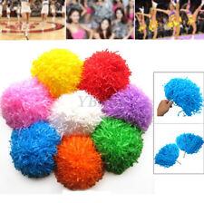 2X Handheld Cheerleader Pom Poms Cheerleading Cheer Dance Party Football Decor�F