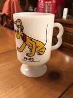 Walt Disney Productions PLUTO Vintage Milk Glass Footed Pedestal Mug Cup