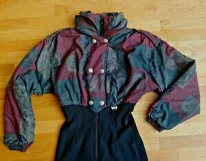 Vtg NILS One Piece Snow Suit Apres Ski Suit Floral 80s 90s WOMENS 10 Black Green