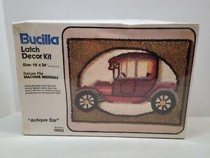 "Vintage Bucilla Latch DecorKit 18 x 24 No.13042 ""ANTIQUE CAR"" NOS"