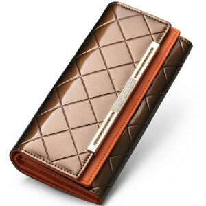Ladies Purse Long Card Clamps Cash Clip Billfold Handbag Women's Wallets Leather