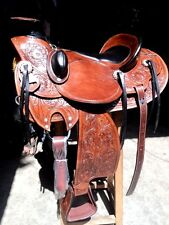 "16""western tack trail pleasure rodeo cowboy custom leather saddle headstall"
