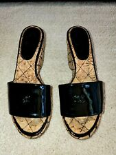 $1295 Chanel Black Platform Quilted Cork Patent Leather Mule Sandal Sz 5 35 �