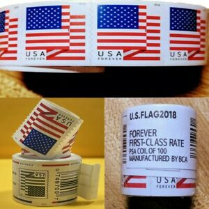 1 Rolls of 100 American Flag 55¢ - Unopened! USA FREE SHIPPING 2018 US Flag