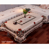 Red Flower Embroidered Lace Cream Tablecloth Dining Table Runner Mat Rectangular