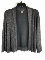 89th & Madison Black Silver Light Open Front Short Cardigan Sweater, Size 2X, b