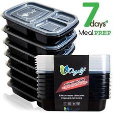 ORGALIF BENTO LUNCH BOX NON TOXIC PLASTIC - 3 Compartment Reusable (Set of 7)