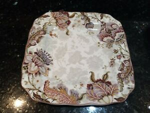 """222 Fifth Gabrielle Floral Paisley/Cream Square Dinner Plates 10.75"""" (set of 2)"""