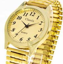 Herrenuhr Classix Farbe gold gold mit Zugband Flexband Stretchband 40mm