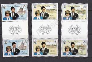 1981 Royal Wedding Charles & Diana MNH Stamp Set Anguilla SG 464-466 GUTTER PAIR
