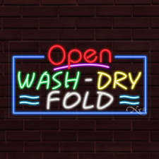 """Brand New """"Open Wash-Dry Fold"""" w/Border 37x20X1 Inch Led Flex Indoor Sign 35595"""