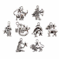 12Pcs/set Mixed Zodiac Charm Pendant Dangle Bead For Jewelry Making Accessories