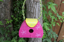 Purse Metal Birdhouse Cottage Decor Hot Pink Beaded Handle Yard Decor Garden