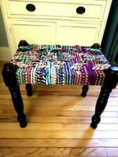 PIER 1 STOOL Bench Woven Seat Dark Wood - Excellent Condition 19 x 22 x 15 tall