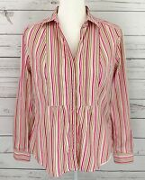 Liz Claiborne Top Womens Medium M Pink Striped Button Up Long Sleeve Collared
