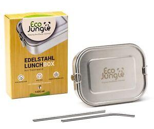 Edelstahl Brotdose - Lunchbox (1400 ml), Vesperdose, Brotzeitbox + Trinkhalme