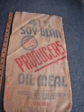 Vintage Advertising PCA Soybean Girard Ks  Seed Feed Burlap Bag Sack  Lot #3