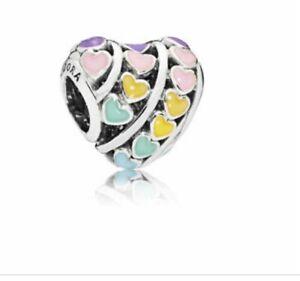 Pandora Charm Authentic New Pandora Rainbow Heart Multicolour Charm # 797019ENMX
