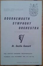 St. Cecilia Concert programme Winter Gardens 1961 Bournemouth Symphony Orchestra