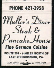 STROUDSBURG PA Muller's Diner Vtg Restaurant Advertising Match Book Cover Old MB