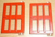 Lego 2 Türen in rot 1 x 4 x 5 mit Glas und Gitter