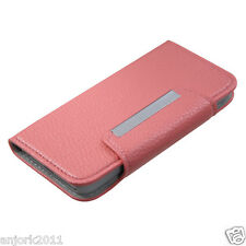 Apple iPod Touch 5 WALLET CASE W/ CARD SLOTS FOLDER COVER PINK