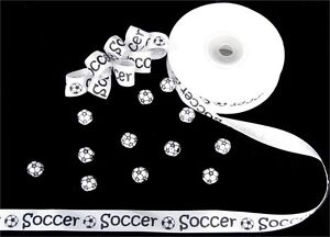 "5/8"" SOCCER BALL WHITE Satin RIBBON ROLL~~~ 25 YARDS Hair Bow Sports"
