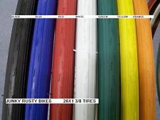 2 TiReS 26x1 3/8 GREEN WHITE BLUE ORANGE RED BIKE BICYCLE ROAD TIRES