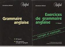2 livres GRAMMAIRE ANGLAISE et EXERCICES avec corrigés ANGLAIS