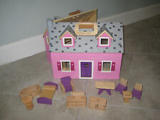 Melissa and Doug Wooden Fold and Go Dollhouse and Furniture lot Incomplete 3701
