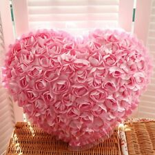 High Quality Satin Heart Bed Sofa Pillow Cushion Rose Flowers For Wedding Decor
