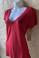 NWT NEW True Religion Red T-shirt V-neck black crystal logo short sleeve size S