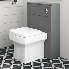 Back To Wall Toilet Cistern Housing Unit Furniture Cabinet Grey BTW WC Pan Seat