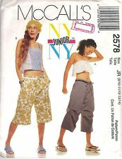 McCall's # 2578 Sewing Pattern: Juniors Tops Pants Shorts Size Jr 9/10-13/14