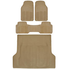 SUV Car Floor Mat 4 pc Rubber All Weather HD Front Rear & Trunk Cargo Beige Mats