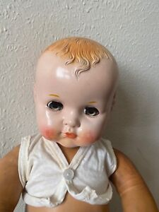 Vintage unbranded doll, 20 in, hard plastic head and stuffed vinyl body, 1950's