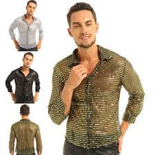 Men's Shiny Sequined Mesh Top Long Sleeve Disco Club Dance Shirt Dude Costume