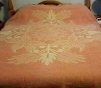 Vintage Art Deco Pink Creme Floral Reversible ORR Health Wool Blanket 72 x 82