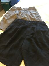 REEBOK Golf Men's Khaki, Black Pebble Beach Pleated Shorts Size 32 Lot 2 Pairs