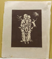 """Familie - Personen ""Holtzschnitt/Büttenpapier sign.Henriette Grimm(1894-1965)"