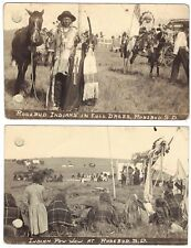 ROSEBUD South Dakota  2 vintage postcards RPPC  Indians in full dress + Pow Wow