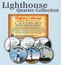 Historic American * LIGHTHOUSES * Colorized US Statehood Quarters 3-Coin Set #1