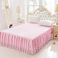 Lace Bed Skirt Bedspread Full Queen Size Korean Princess Bed Cover Fitted Sheet
