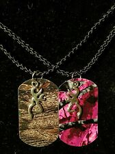 His Hers Buck Doe Camo Dog Tag Necklace 2 PC Set NEW! Browning Deer Pink Country