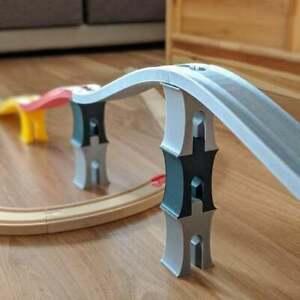 Wooden Train Track 2 level Bridge Support 4 pieces (Lidl, Aldi, Ikea, Brio)