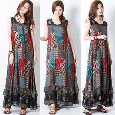 ZANZEA 8-24 Women Summer Sleeveless A-Line Boho Maxi Sundress Party Floral Dress