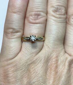 10k Multi-Tone Gold Round Diamond 0.10 CT Engagement Ring