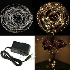 Warm White 10M/33FT 100LED Copper Wire String Xmas Party Fairy Light +AC Adapter