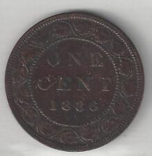 CANADA, 1886,  LARGE CENT,  BRONZE,  KM#1,  VERY FINE-EXTRA FINE