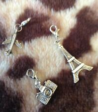 Silver Keyring Charms, Eiffel Tower, Camera, Airplane